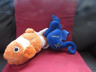 2 Soft Plush Souvenir London Aquarium Toys Clown Fish & Sea Horse