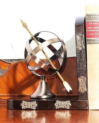 Vintage Pair of Hammered Metal and Wood Armillary Globe Bookends Home and Office
