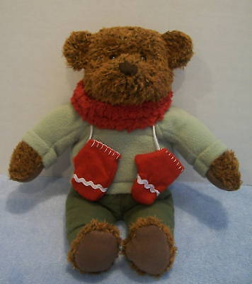 Hallmark Plush Brown Teddy Bear  TEDDY MITTENS Christmas Bear