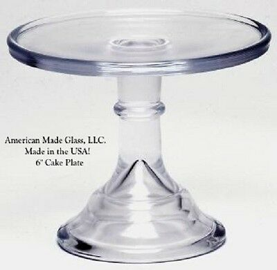 "Crystal Glass Plain & Simple 6"" Cake Plate Salver Bakers Stand Pastry Tray"