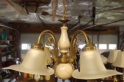 Vintage Brass Chandelier, 5 Arm, Made In Italy, Handmade Shades