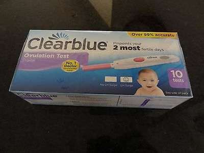 Clearblue Digital Ovulation Testing Kit Pack of 10 Brand new & factory Sealed.