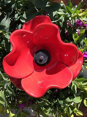 Red Ceramic Poppy, Glazed With Stainless Steel Stem