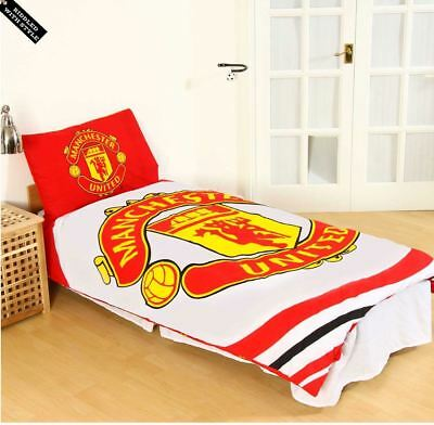 Kids Manchester United FC Print Football Club Single Duvet Quilt Cover Set