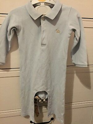 Burberry Long Sleeved Babygrow Light Blue Nova Check Trim 12m