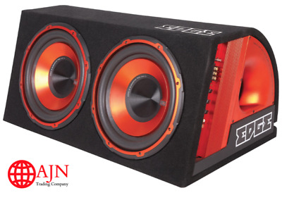 """Edge Twin 12"""" Car Audio Active Subwoofer Amplified Box 1800w Built in Amplifier"""
