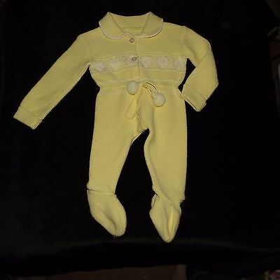 Sweet  Vintage Unisex Knit Footed Longall Romper Sleeper Newborn Evc Yellow