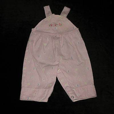 Sweet Vintage Tawil Pink Gingham Overalls Romper Floral Embroidery 3-6 M Euc