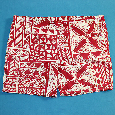 Vintage 50s JANTZEN Red White Hawaiian Retro Swim Trunks Shorts Mens 36