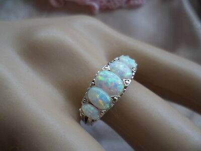 Antique Art Deco Vintage Sterling Silver Opal Ring size 9 or S with five Opals