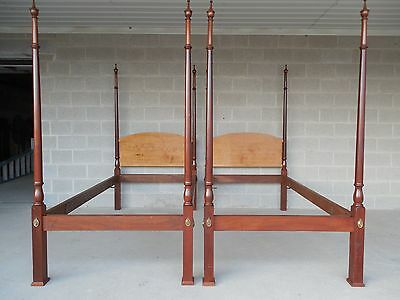 Marlow Solid Birdseye Maple & Cherry Chippendale Style Pair Twin Poster Beds