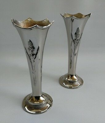 Vintage Pair of Decorated NM English Silver Plate Posy Bud Flower Vases