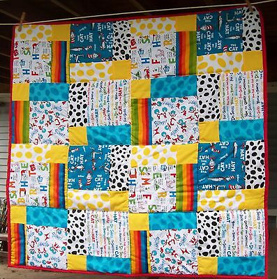 Handmade Bright Dr. Seuss Cat in the Hat  Baby or Toddler Quilt Bed Blanket New
