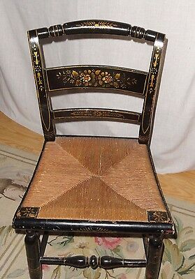 Vintage Stenciled Black Chair Hitchcock Style  Black woven Seat Shows great ware