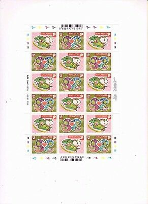 "Singapore, 2001, ""year Of Snake""  Full Sheet Of 9 Stamp Sets Mint Nh Fresh"