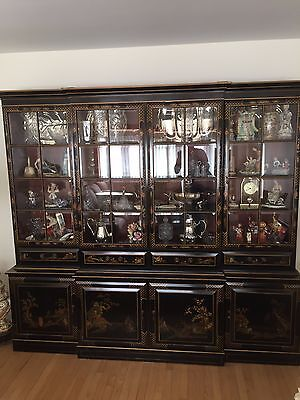 Vintage Union National 4 Door Asian Chinese Black Chinoiserie China Cabinet