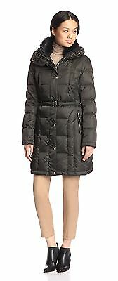 280016df2 VINCE CAMUTO BELTED Down Coat With Faux Fur Collar In Hunter Green Xl $330  Nwt