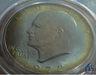 PCGS 1972-P MS-64 TYPE 1 BEAUTIFUL RIM TONED RARE DATE IKE DOLLAR!   No ReSeRvE