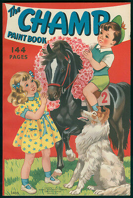 """UNCOLORED """"The Champ Paint Book"""" #3406 Merrill 1940 (4569)"""