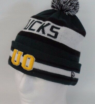 low priced c6d04 549e7 University of Oregon Ducks New Era Knit Pom Beanie Cap NCAA Embroidered Logo