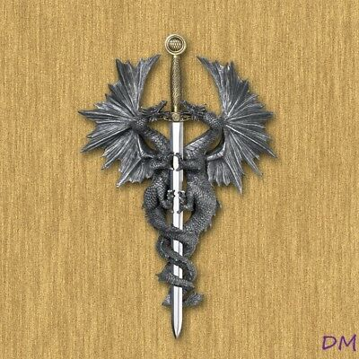 Two Gothic  Winged Dragons with Sword Wall Plaque