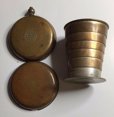 Antique Victorian Brass Collapsible Travelling Spirit Beaker With Fob Case 1886
