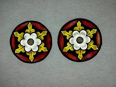 Beautiful Stained glass.FLOWERS.Hand painted.Kiln fired.Diameter -100 mm. New.