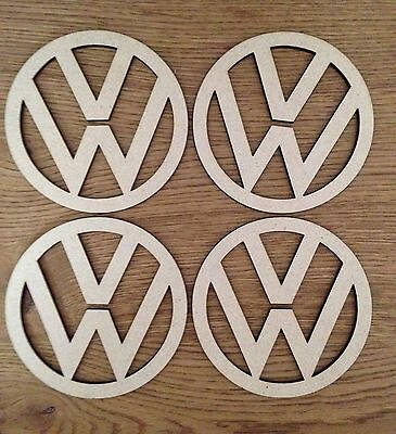 VW Logo Coasters, Set Of 4, 100mm Ideal For Camper Van VW Fan Stocking Filler