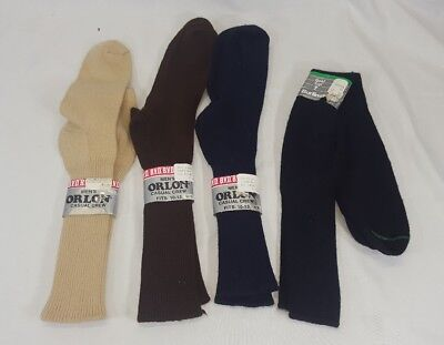 Vtg 4 pairs New Men's BVD Orlon Socks Sz 10-13 Tan Navy Brown Black Lot
