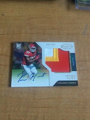 2017 Kareem Hunt Certified 3 Color Patch / Auto /499