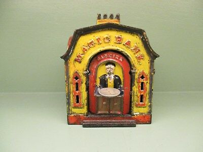 "Cast Iron ""MAGIC BANK"" Mechanical Bank Original Antique Americana Toy"