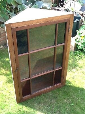Old Antique Wooden Pine Corner Cupboard Or Cabinet - Stained Glass!