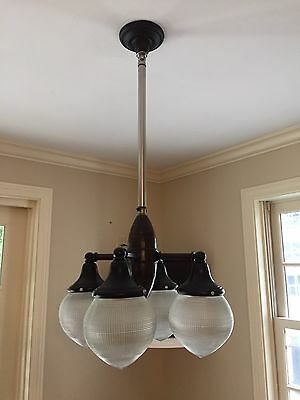 Antique Industrial Dental Telescoping Light Fixture With Four Holophane Shades