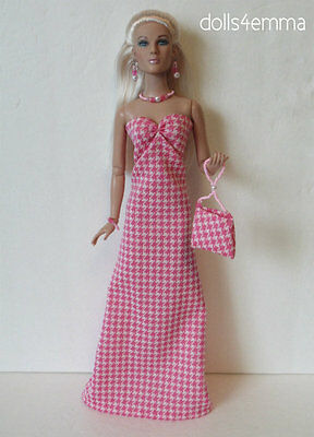 "TYLER 16"" DOLL CLOTHES pink Gown, Purse & Jewelry Handmade Fashion NO DOLL d4e"
