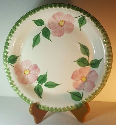"""Blue Ridge Pottery 10"""" Pie Plate with Pink Flowers Green Ribbed Border Southern"""