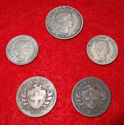 5 Old Swiss Coins, 1850-1913