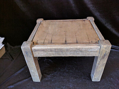 """Vintage Antique Primitive Small Wooden Wood Ottoman Foot Step Stool Bench 10"""""""