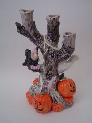 1988 Fitz And Floyd *halloween Ghost Vulture* 3 Pillar Candle Holder