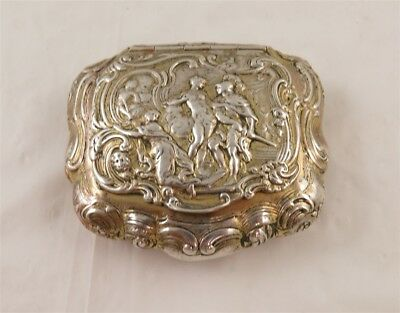 1800's German 800 Silver Neisse Repousse Knight & Goddess Lidded Snuff Box