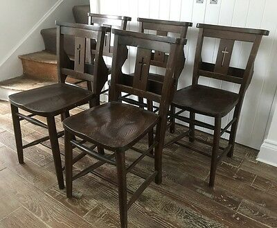 5 church/chapel wooden Victorian chairs - dark stain. very good condition.