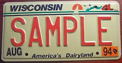 1994 Wisconsin Sample All Zeros License Plate Auto Tag With Red Letters Wisc Wi