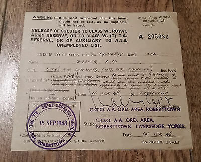 1948 British Army Form W.3044 Transfer To Reserve, Auxilliary or Unemployment