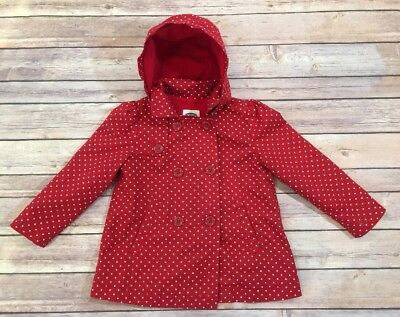 Toddler Girls Old Navy Brand Hooded Polka Dot Jacket Size 3T-EUC-Red