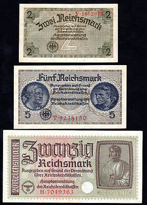 Billets de 2 - 5 - 20 Reichmark - ND (1939-1945) -