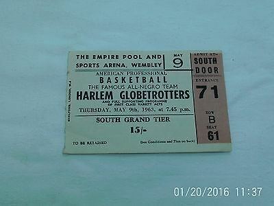 Harlem Globetrotters Basketball Ticket Stub 1963