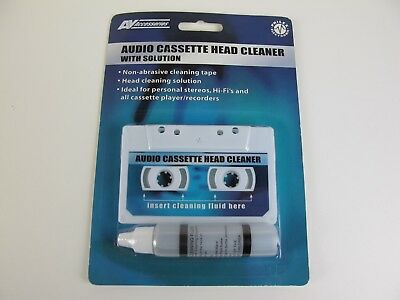 New Audio Cassette Tape Head Cleaner With Fluid Non Abrasive Cleaning Tape