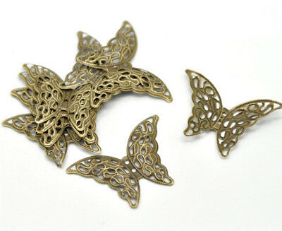 """10 BUTTERFLY Antique Bronzed FILIGREE WRAPS 1-5/8"""" x 1-1/8"""" (41mm) (15820)"""