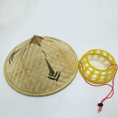 Vietnamese Coolie Bamboo Cone Farmer Costume Rain Hat Asian Dance Retro