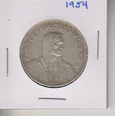 Silver 5 Franc Swiss Coin-1954