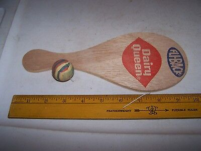 Vintage DAIRY QUEEN FLI-BACK Wood Paddle Ball on a Rubber Band Game